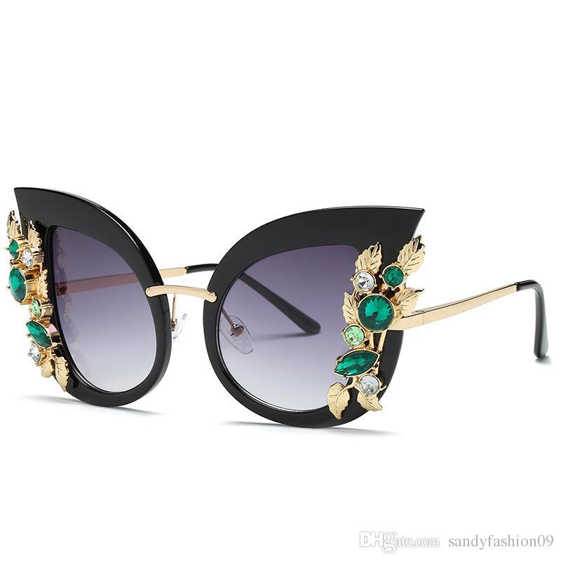 f1d506bb93dc8 Fashion Cat Eye Sunglasses Women Luxury Flower Gradient Sun Glasses ...