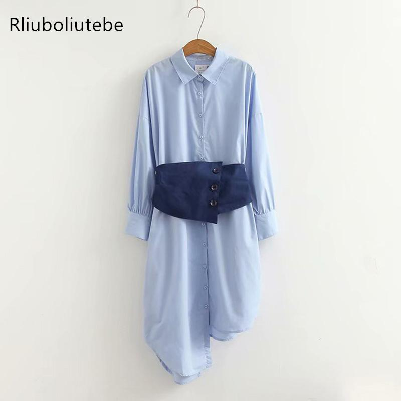 asymmetry long shirt dress women long sleeve tunic with belt work office dresses long shirt casual turn-down collar light blue