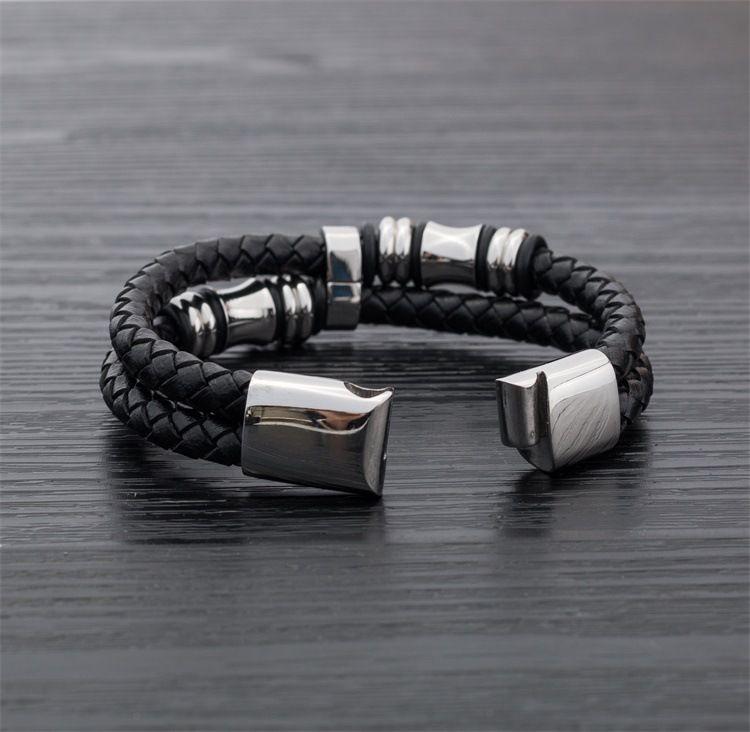 Joyería de los hombres de doble capa de cuero genuino titanio imán de acero pulsera Punk Rock Charm hombres pulsera de alta calidad D715LR