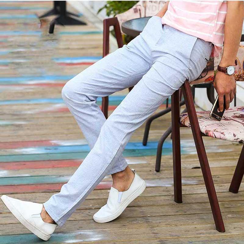 cb05c74477c5f Satın Al Satış Bahar Yaz Ince Rahat Pantolon Erkekler Düz Ön Düz Fit Pamuk Keten  Pantolon Erkek Açık Gri Mavi Haki, $27.43 | DHgate.Com'da