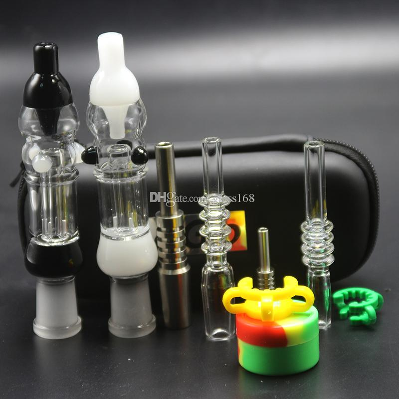 EGO Case Colorful Nectar Collector Kit 10mm 14mm con miele al quarzo titanio Honey Dab Straw Honey Bong in vetro per uccelli