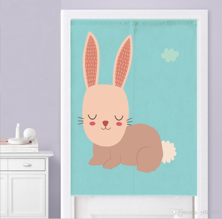 Wholesale 85*120cm Cartoon Sleeping Bunny Nursery Door Curtain Cotton Linen Pantry Curtain NewYear Festival Wedding Children Kids Room Decor