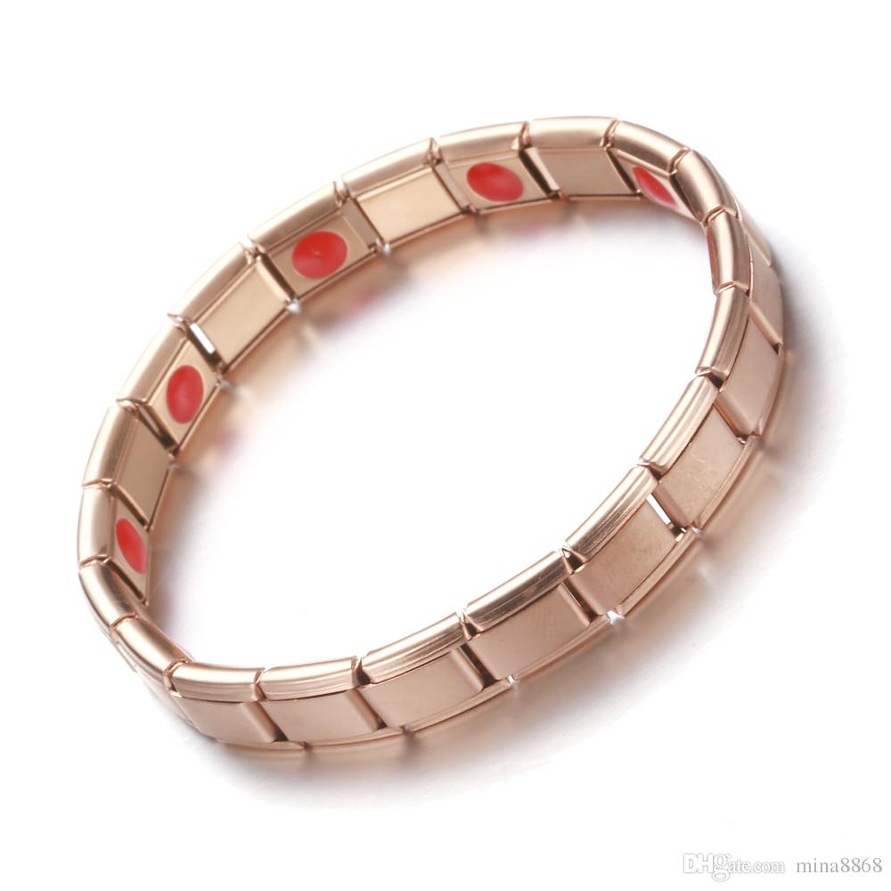 Bio Energy Bracelet for women men Stainless Steel with Germanium Magnetic Health Bracelet Wristband Rose gold/gold color Jewelry wholesale