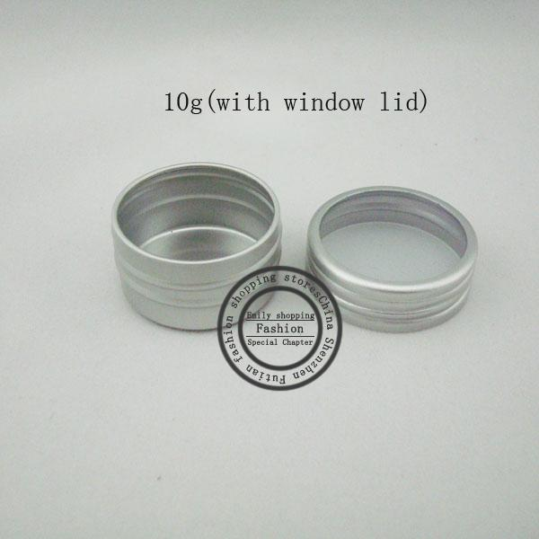 Free Shipping 10g (100pcs/lot) Aluminum Case 10g Round Matte Aluminum Can Aluminum Container Tea Tin with window lid wholesale