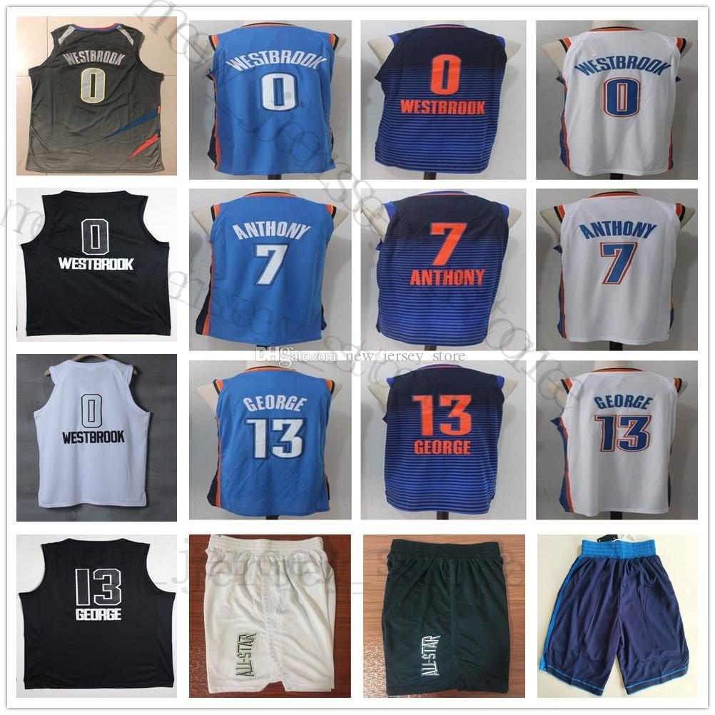 b6855cb3c Acheter College The City Edition 0 Maillot Russell Westbrook Cousu Bleu  Blanc 7 Carmelo Anthony All Star Noir Blanc 13 Paul George Jerseys Shorts De   14.23 ...