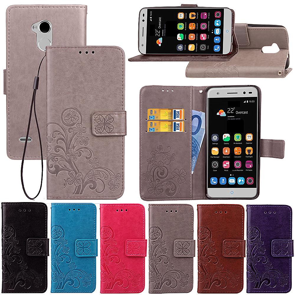 separation shoes 69f95 e2521 Universal Case For ZTE Blade V7 Lite/A2/V6 Plus PU Leather Cover Stand  Lucky Four Leaf with Wallet Card Holder Hand Strap