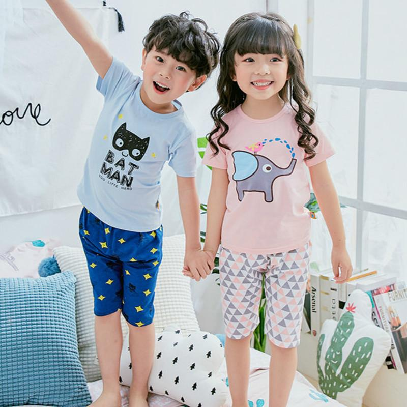 e8aceaab7c Baby Kids Pajamas Set Summer Children Short Sleeve Cotton Sleepwear Boys  Cartoon Pyjamas Girls Cute Home Clothing Boys Nightwear Kids In Pjs Holiday  Kids ...