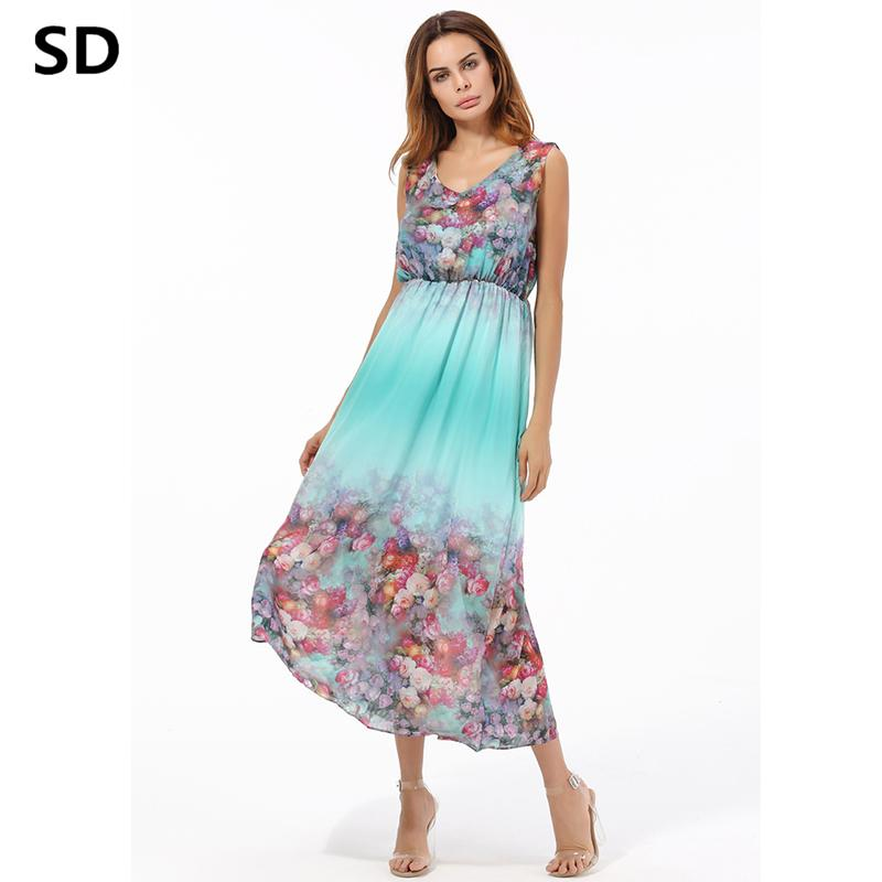4a25aa5ad2 SD Dress Woman Elegant Plus Size Chiffon Dresses Sleeveless Ankle Length  Robe Sundress Vestidos De Festa Casual Maxi Dress W61 Long Dress For Women  Womens ...