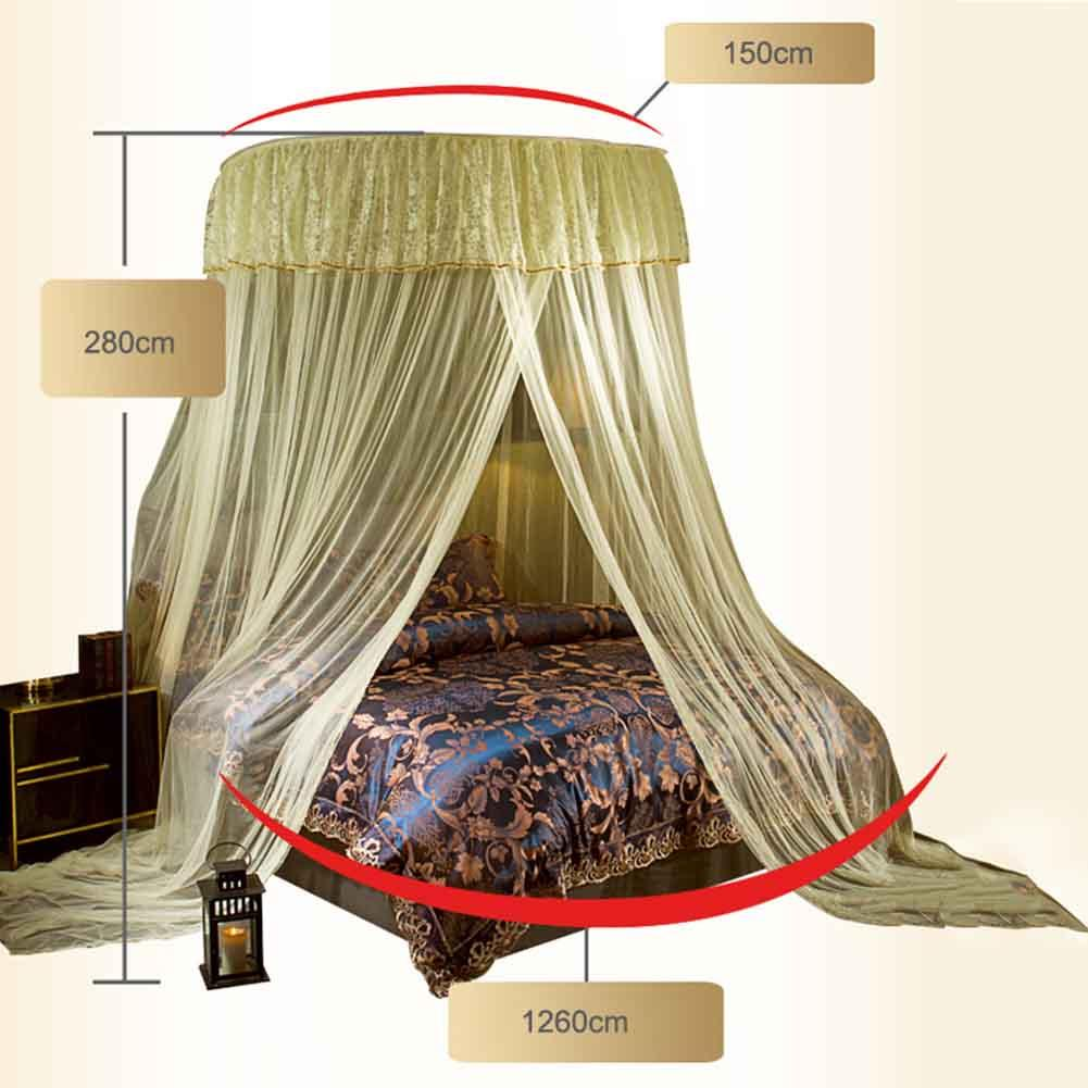 Hung Dome Lace Mosquito Net Princess Round Nets Curtain For Frame Tenda Fiber Untuk Bedding Lbshipping Herbal Repellent Window From Sophine09