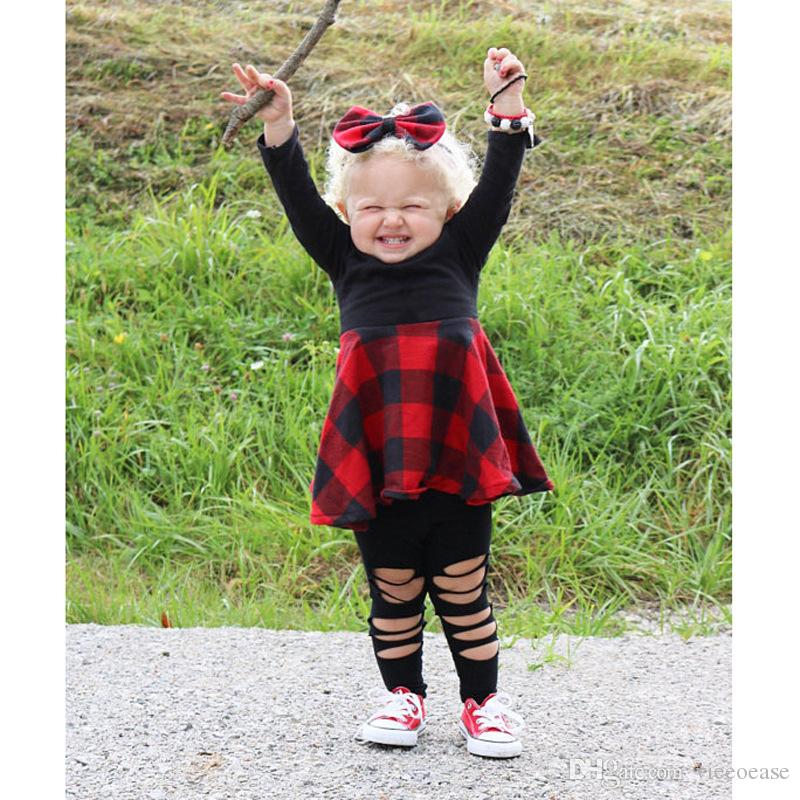 Vieeoease Girls Dress Christmas Plaid Kids Clothing 2018 otoño invierno moda manga larga vestido de princesa con diadema CC-060