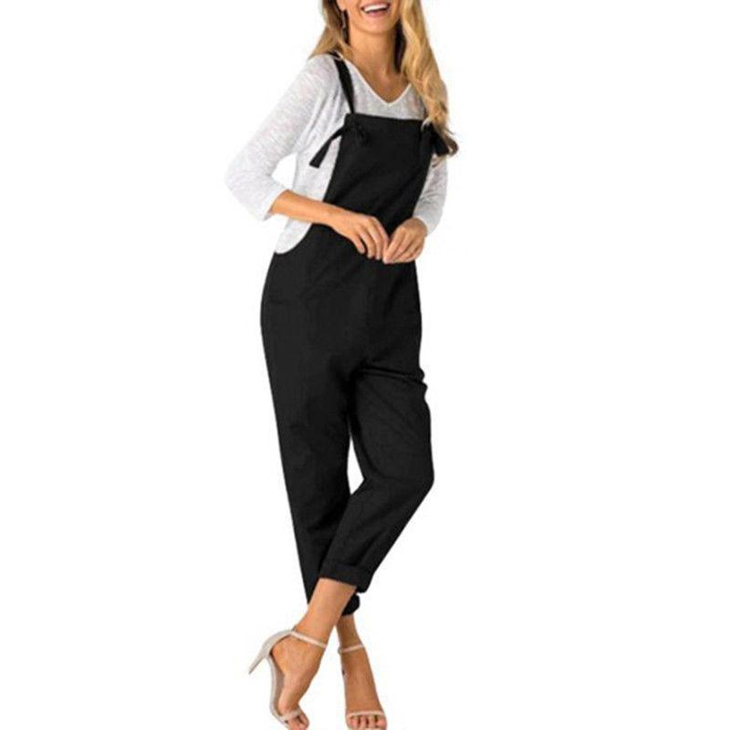 Women Sleeveless Pockets Baggy Jumpsuits Overalls Fashion Strappy Casual Rompers Women Loose Long Harem Pants Bib Trousers X1