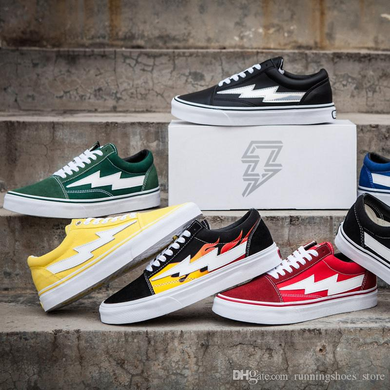 2018 New Revenge X Storm Old Skool Canvas Designer Sneakers Womens Men Low Cut Skateboard Amarillo Rojo Azul Blanco Negro Casual Zapatos