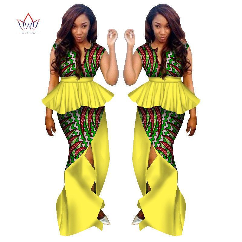 aa688b09cd2b4 Acheter BRW Vêtements Africains Traditionnels Pour Femmes 2 Pièces Jupe  Costume Ensemble Vêtements Africains Vêtements Africains Imprimer Maxi  Jupes WY1132 ...