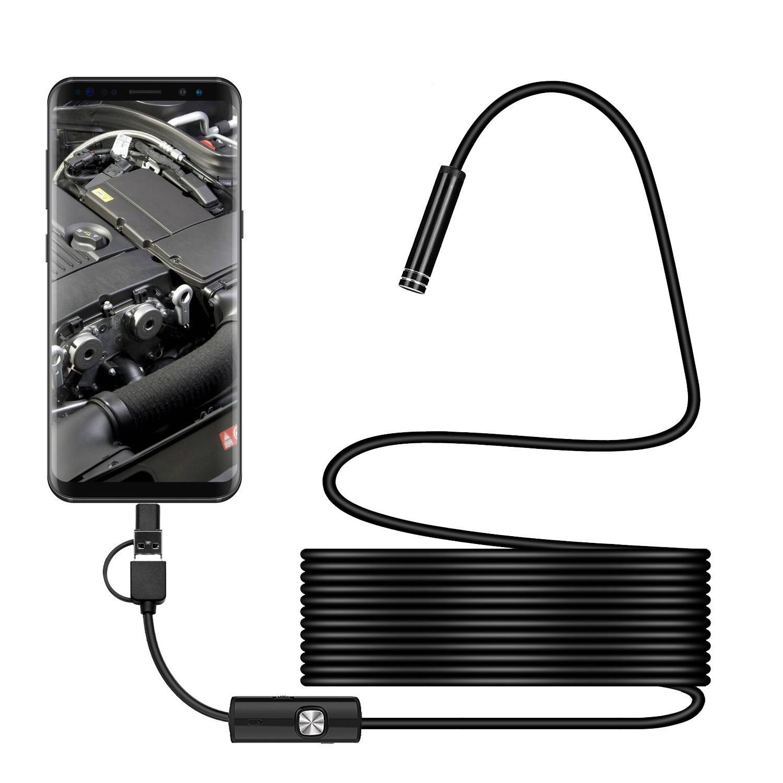 LONGFENG LF58 Lente endoscópica 2 m Impermeable Mini Cámara HD Serpiente Tubo Cable rígido de 5,5 mm Inspección USB LED Boroscopio para Android / Mac / PC