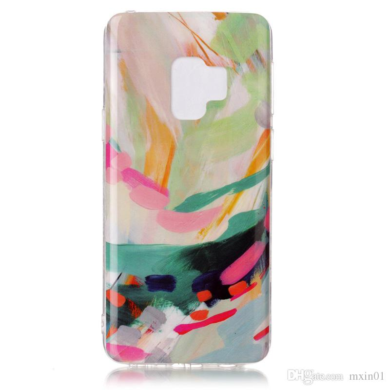 Marble Rock Flower Skull Hybrid Silicone Natural Stone Marmor Siliocne Soft TPU Gel IMD Back Case Cover For iPhone X 7 8 Samsung S9 Plus