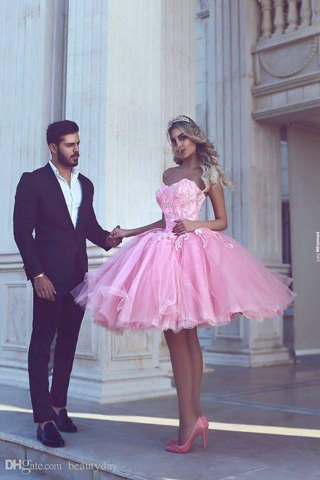 aadfbe4797b Lovely Pink Short Homecoming Dresses 2018 Modest Puffy Skirt Cocktail Party  Dresses Sparkly Arabic Indian Prom Dresses Tulle Lace Junior Plus Size ...