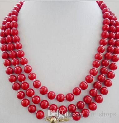 NEW Natural 8mm Red Coral Gemstone Round Beads Necklace 48""