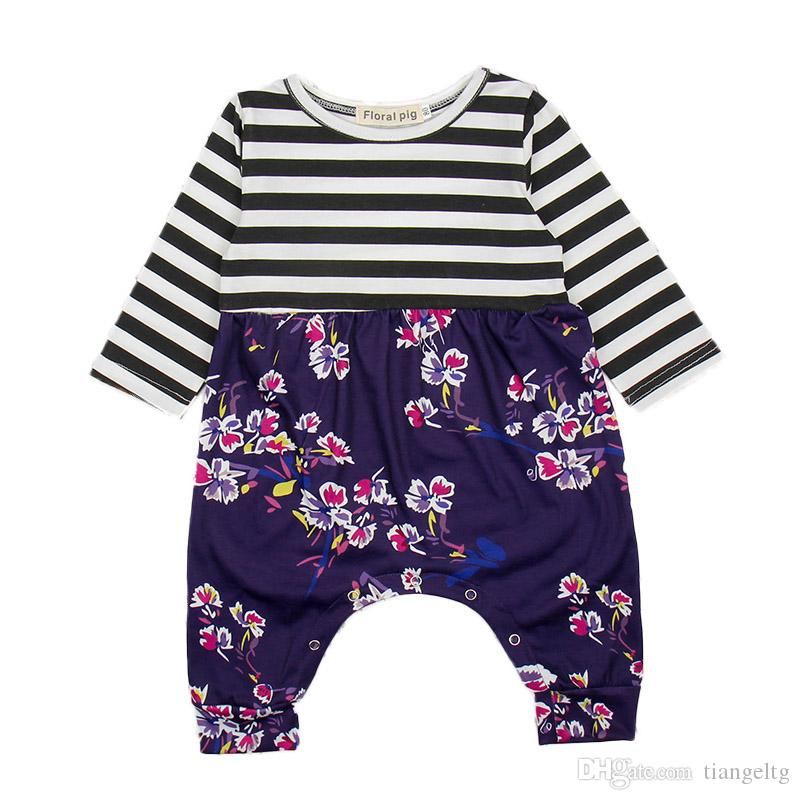 3fef296e2 2019 Baby Rompers Black White Stripes Floral Printed Jumpsuits Long ...