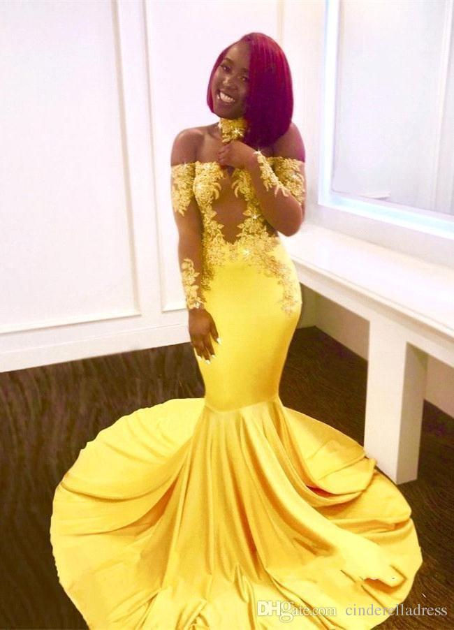 New Yellow Elegant Off the Shoulder Lace Prom Dresses 2K19 Sexy Formal Long Sleeves Mermaid Appliques Satin Arabic Evening Gowns Long BA7903