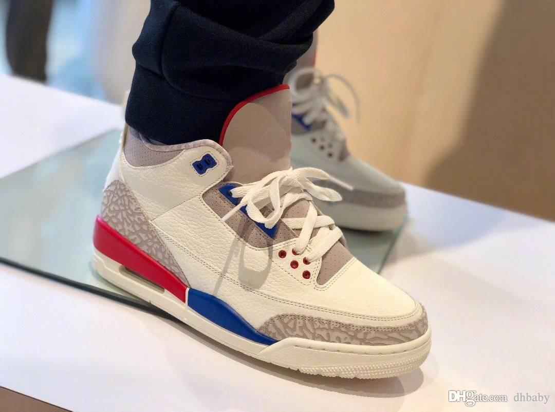 2015 sale online quality free shipping for sale 2018 136064-140 Top 3 White grey Blue Red 3 Man casual Shoes white blue red casual shoes With Box 7-13 61mt4B
