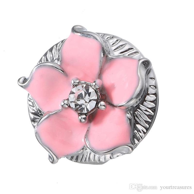Rose Snap Bijoux BRICOLAGE Ginger 18mm Strass Snap Boutons Fit Snap Bouton Bracelets pour Femmes