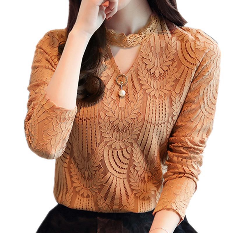 Compre Primavera Outono Mulheres Blusa De Renda De Manga Longa Moda Blusas  E Camisas De Crochê Blusas Casual Feminino Roupas Plus Size Femme Top De  Edwiin04 ... 0b2f413929a
