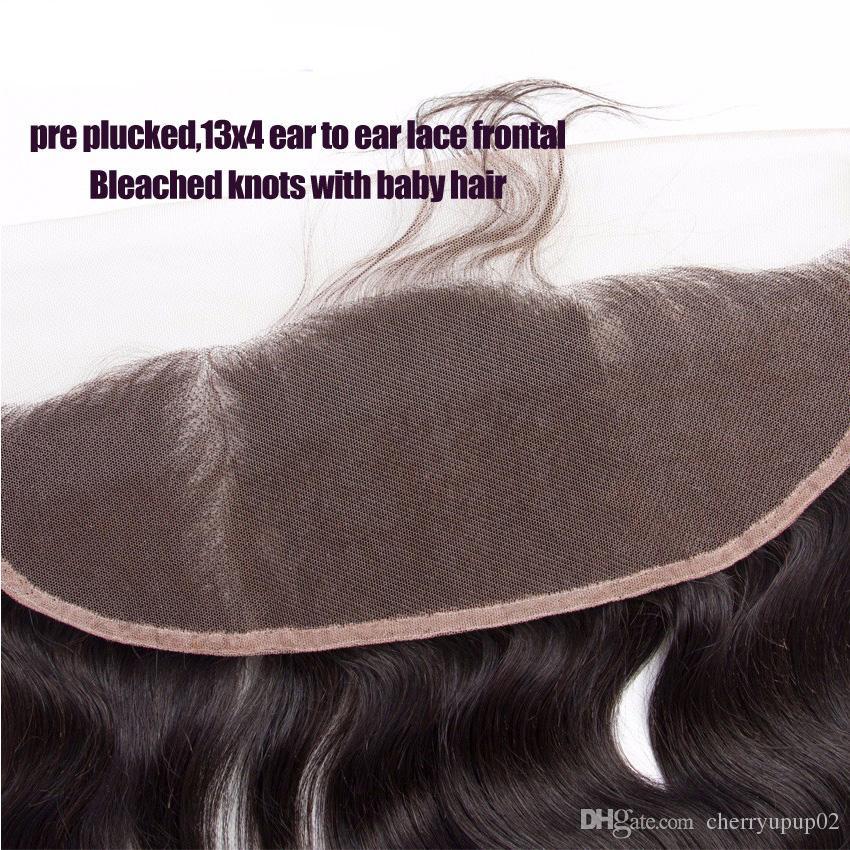 13 * 4 9A Vague de Corps Dentelle Fermeture Brésilienne Vierge de Cheveux Humains Jerry Curl Natrual Couleur 4 * 4 Dentelle Fermeture Partie Libre Partie du Milieu