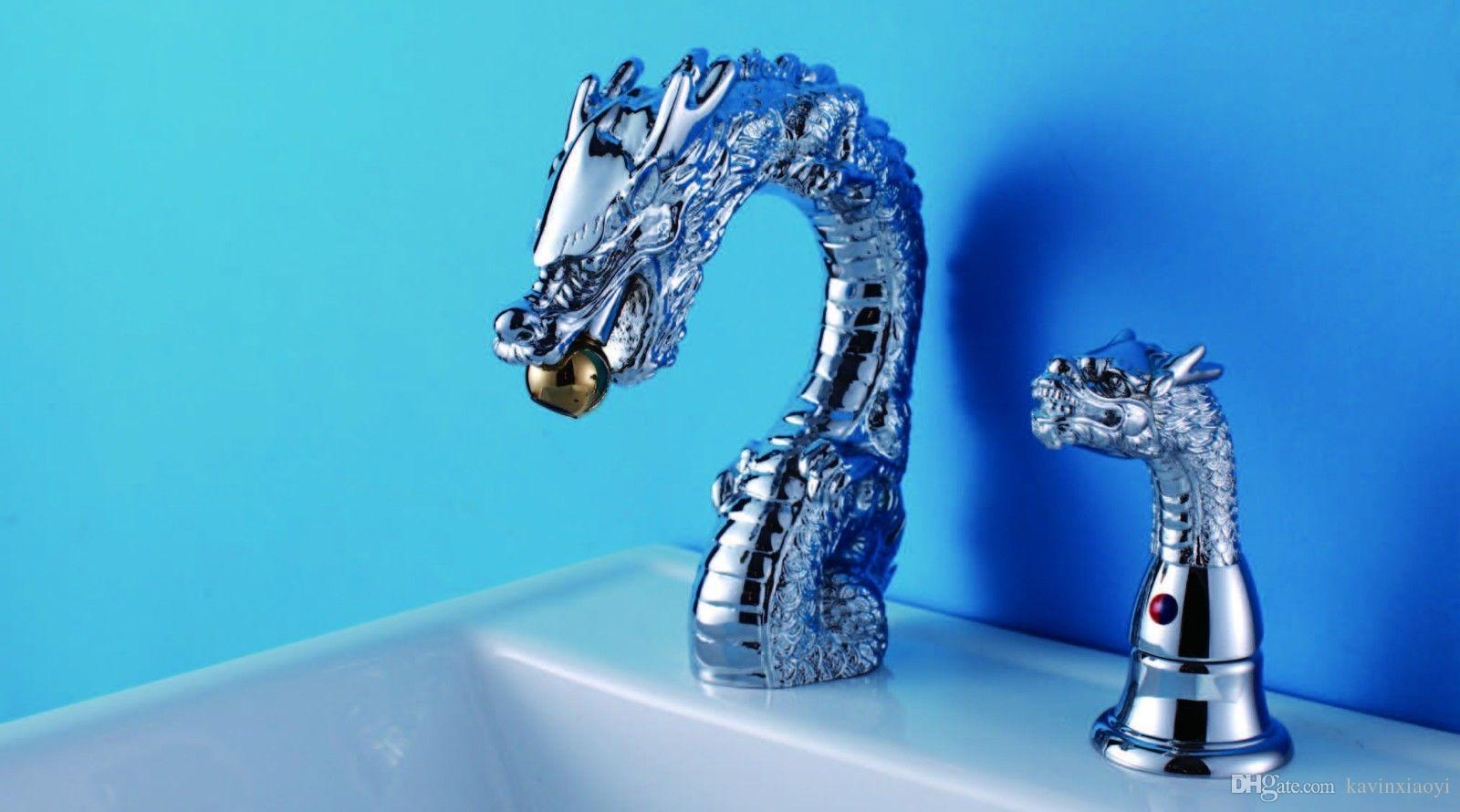 Free shipping 2 Holes single handle Chrome color Bathroom Sink Faucet dragon faucet widespread lavatory sink mixer tap