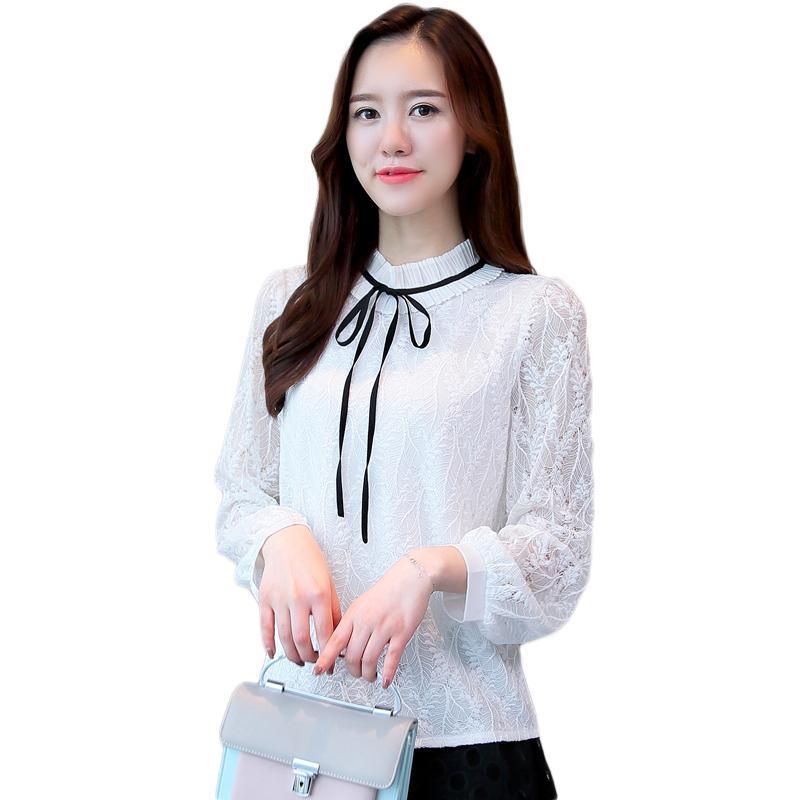 654b047c7d 2019 Women Chiffon Blouses 2018 Autumn Korean Fashion Stand Collar Lace Hollow  Shirt Female Long Sleeved Shirt Black White Bow Tops From Yahua_business,  ...