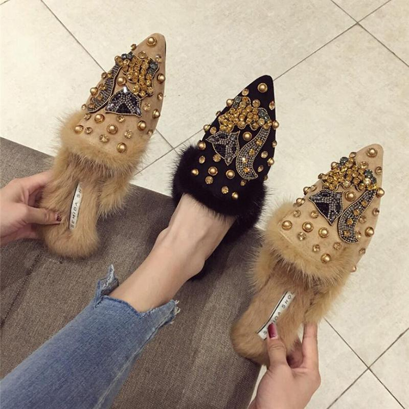 a2cdda16c0 Crystal fox pattern pointy toe flats mules slippers celebrity brand women  winter rabbit fur rivets decorate slides shoes girls