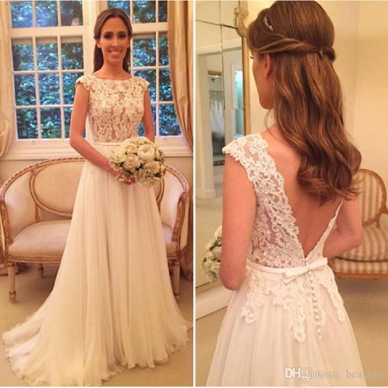 dc2cb295470 Discount Elegant A Line Wedding Dresses 2018 Country Style Boho Beach  Bridal Gowns Vintage Lace Sexy Backless Bohemian White Tulle Vestido De  Novia A Line ...