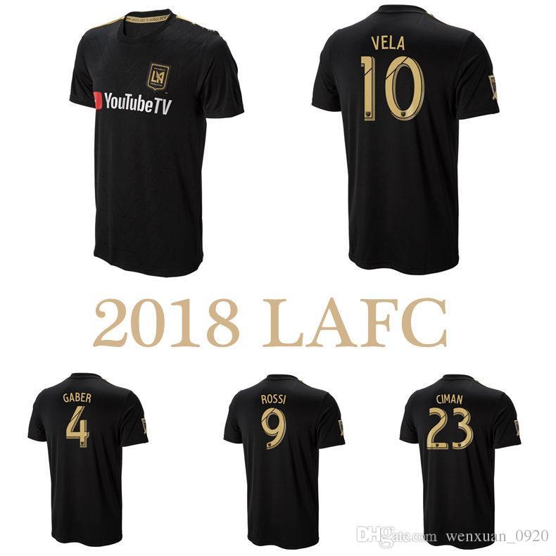 quality design f794f 090dd 2018 LAFC Futbol Formalar Los Angeles FC 18 19 Ev Carlos Vela GABER ROSSI  CIMAN ZIMMERMAN Siyah ÜST Kalite Futbol Gömlek