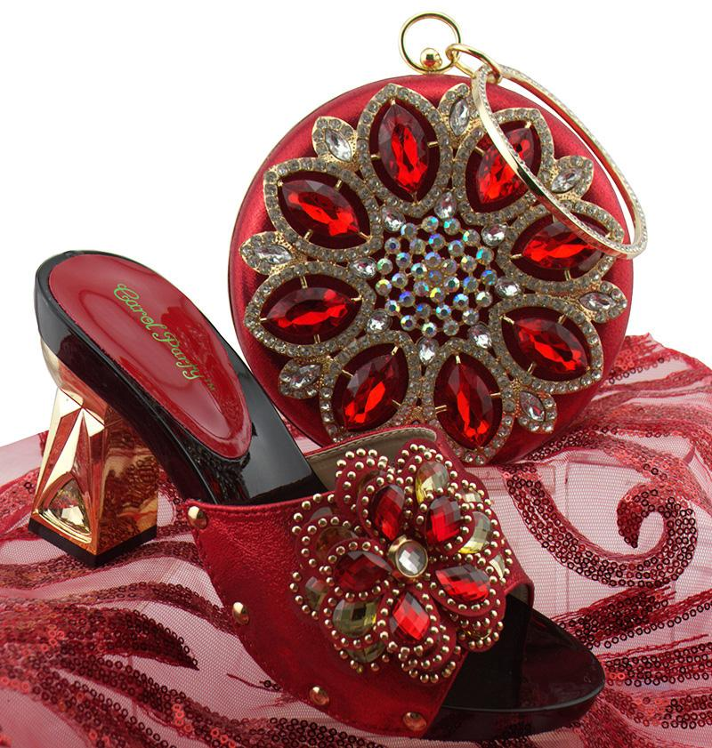 2018 African Women Shoes And Bag Set With Rhinestones Pumps Italian ... e99d3701f5ee