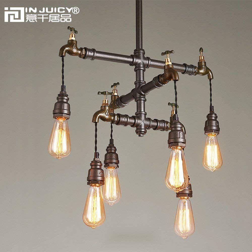 Loft industrial wrought iron pendant light fixture retro water pipe steampunk metal bar dining room restaurant pendant lamp
