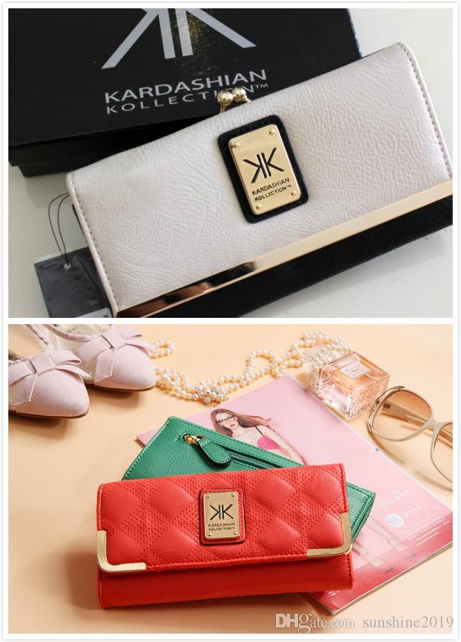 Brand 2018 Cow Kardashian Kollection kk Leather Women Wallets Ladies Short Wallet Female Money Clip Three Fold Purse
