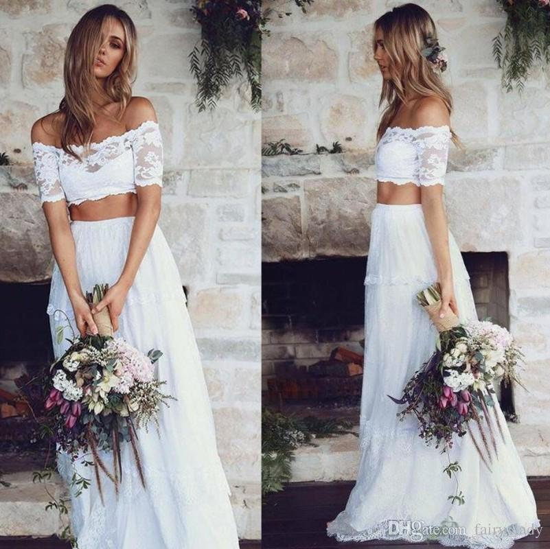 Discount White Sheer Lace Two Piece Summer Beach Wedding Dresses 2018  Romantic Off Shoulder Long Tiered A Line Bridal Dress For Women Casamento  Wedding ... 39fd0bd83