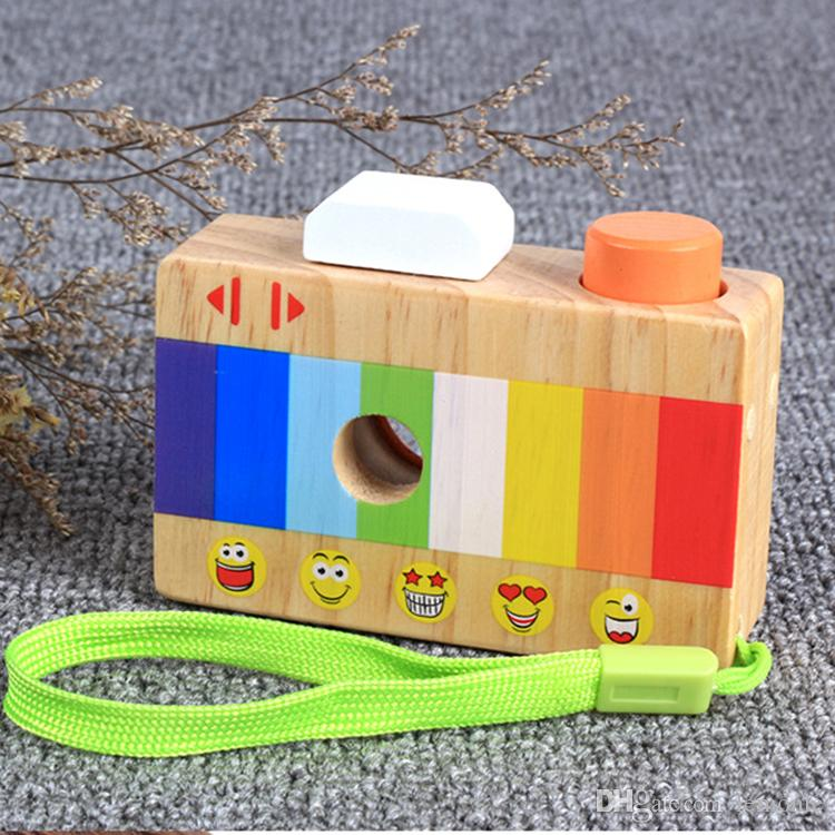 Toy Camera Cute Wooden Block Toy Kids Creative Neck Camera Photography Prop Decoration Children Playing House Tool