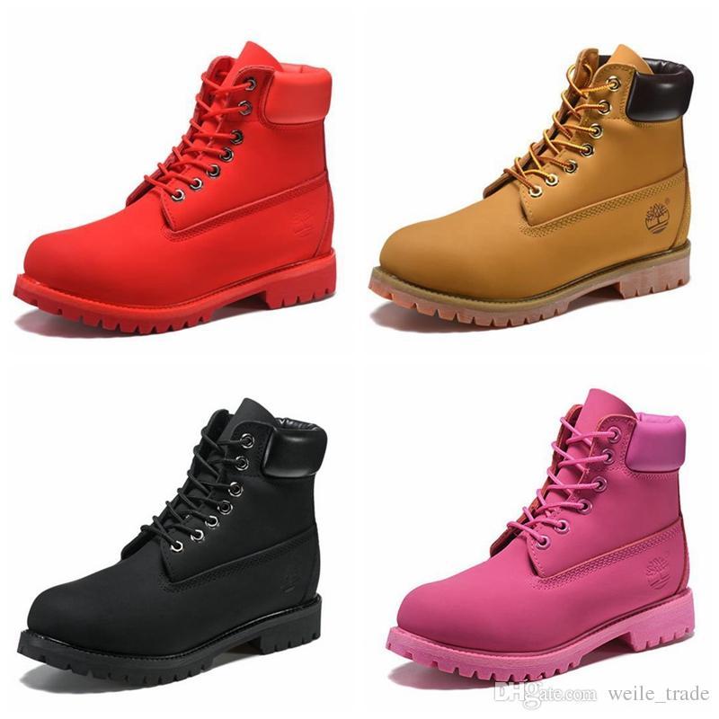 8af248ac9 Compre 2018 Nueva Moda Para Hombre Diseñador De Botas De Cuero Rojo Marrón  Retro Zapatos De Invierno Al Aire Libre Mujeres De Lujo Marca Botas Zapatos  Cdg ...