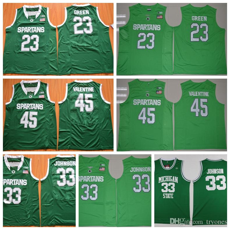2019 Michigan State Spartans College Basketball Jersey Cheap 33 Magic  Johnson 23 Draymond Green 45 Denzel Valentine Shirts Stitched Mens Jersey  From Tryones ... 2e635e1ec