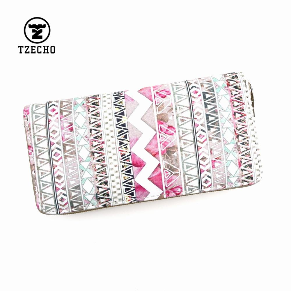TZECHO Womens Wallets Leather Print National Geometric Long Ladies Money Purses With Zipper Coin Pocket Card Holder Casual Bag