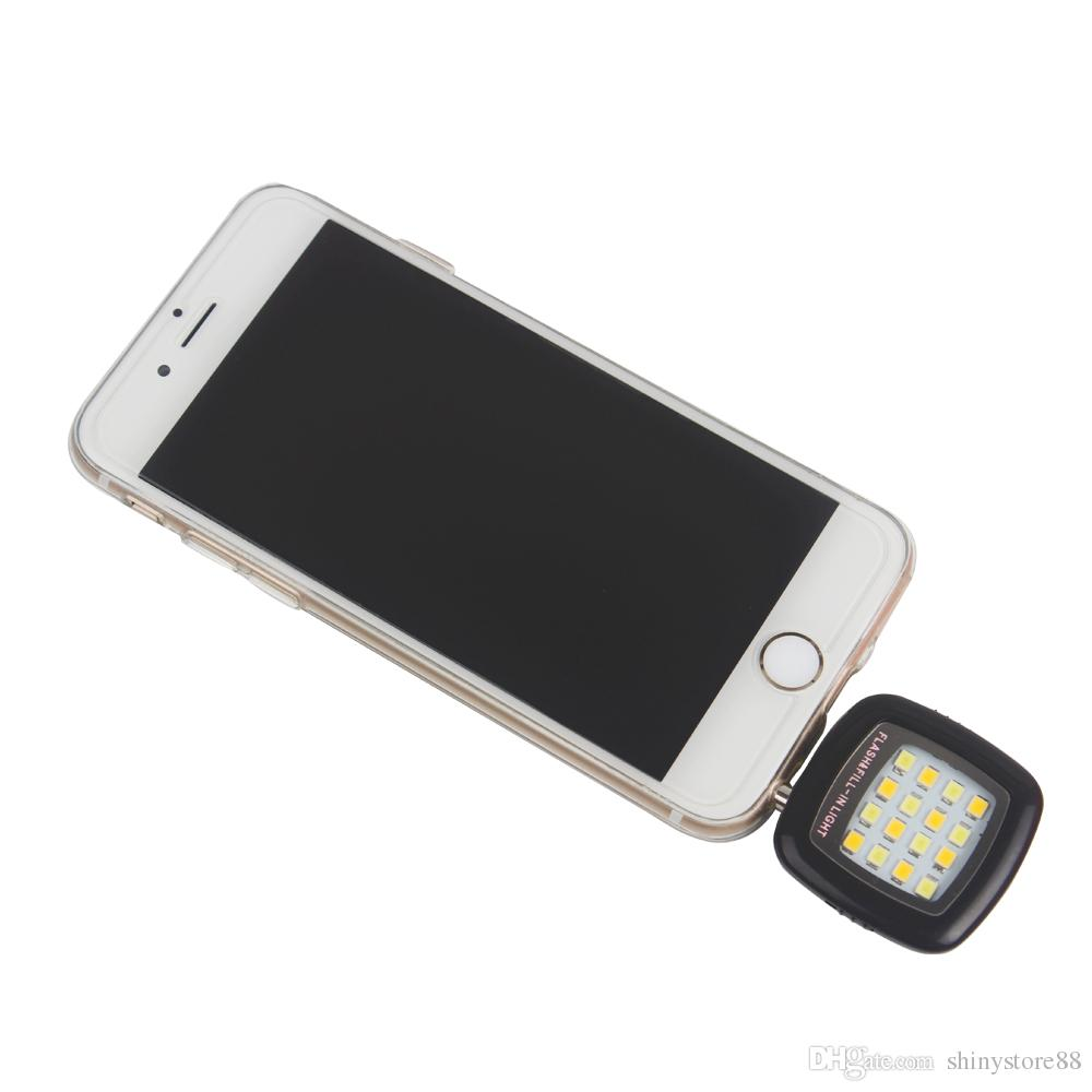 Cell Phone Camera Fill Light Smartphone LED Flash Fill Light 16 Leds Portable 3.5mm For iPhone IOS Android Adjustable Brightness