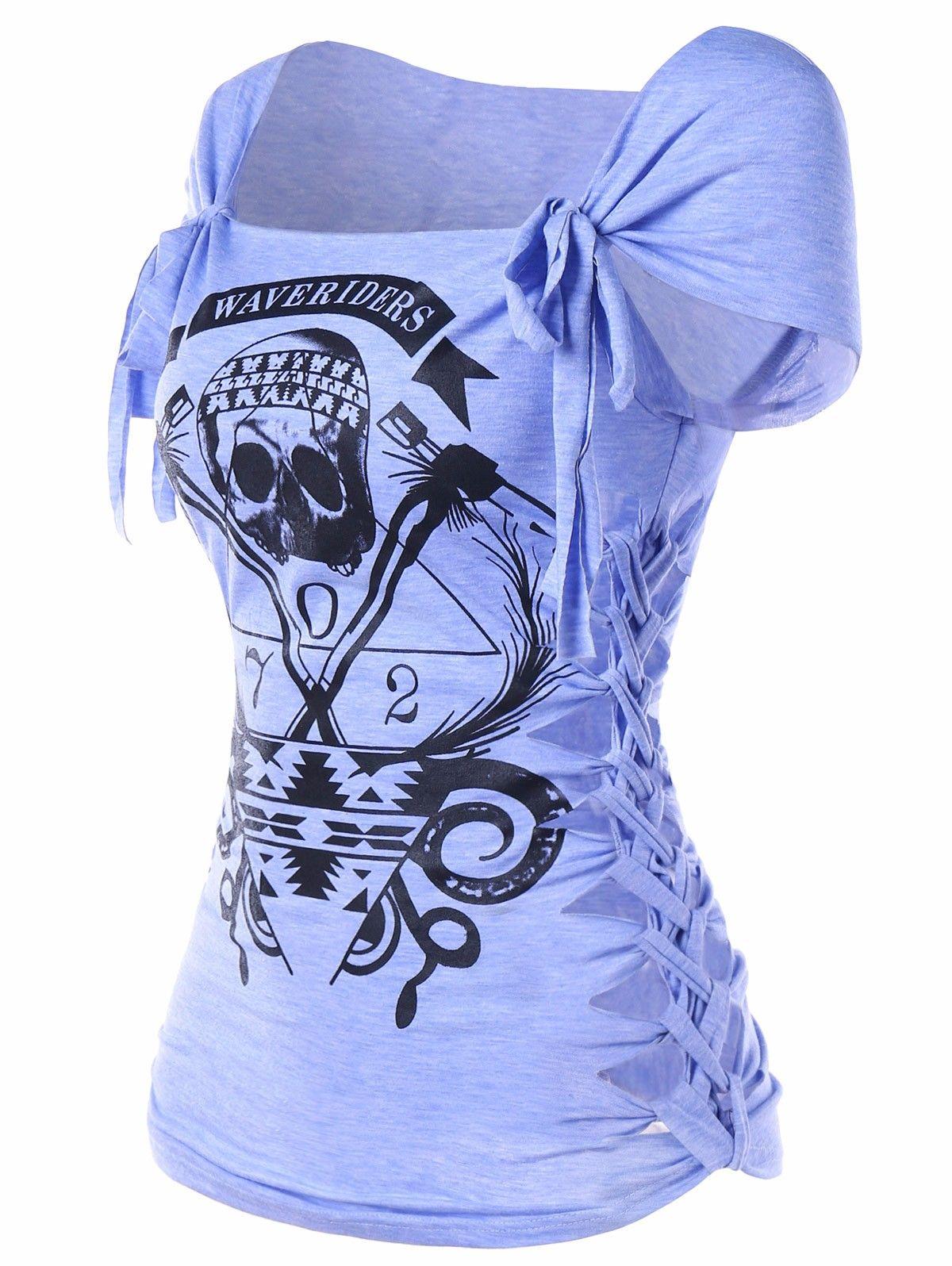 5b2486a2a5fe Gamiss Skull Print Braided Shredding T Shirt Women Summer Casual Square  Neck Short Sleeve Graphic Tee Women T Shirt Big Size 2XL Retro Tees Weird T  Shirts ...