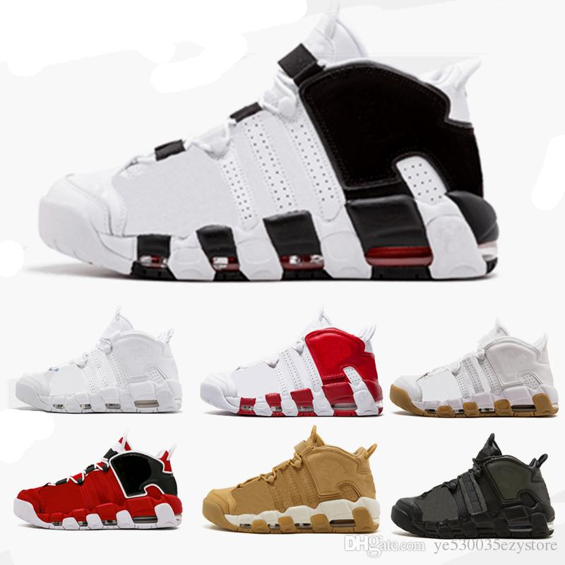25277e49596 2018 Newest release air more uptempo SUPTEMPO mid gold black for Men's  Basketball boots Scottie Pippen Shoes High Quality sneaker40-46
