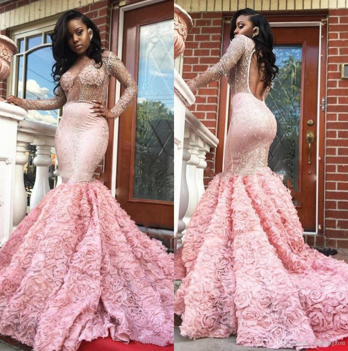 bb51d454d30 2018 Unique Mermaid Prom Dresses Design Luxury Pink Sheer Neck Sexy African  Vestidos De Festa Special Occasion Dresses Evening Gowns Online Prom Dresses  ...