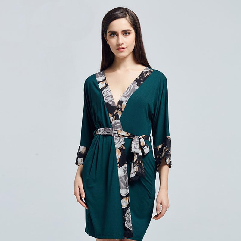 2019 Modal Robe Kimono Bathrobe Gown Women Sleepwear Sexy Nightdress Print Floral  Sleeve Nightgown Summer Night Dress Nightwear From Tutucloth 279cc4463