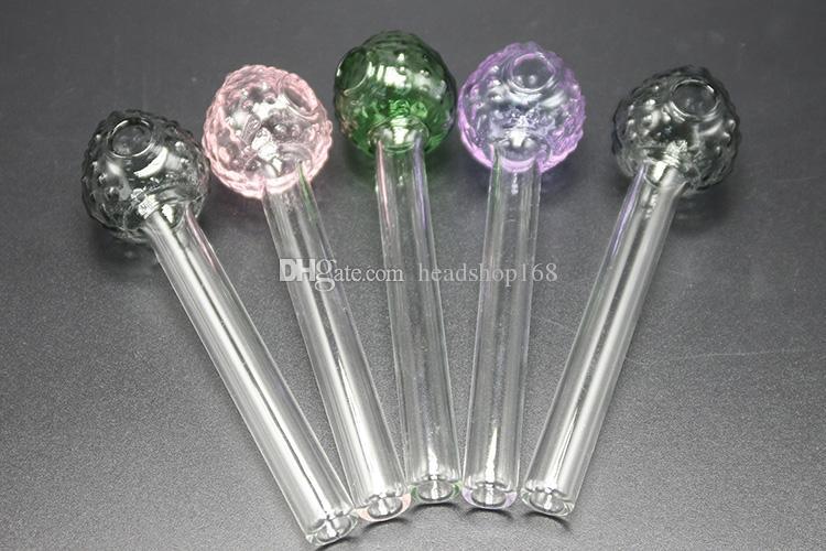 Hot Bottom Preis Mini Glaspfeifen Durchsichtigen Rohr Mit Erdbeer Stil Schüssel Glas Ölbrenner Handpfeifen Mini Pfeifen 7 Farben Günstigste