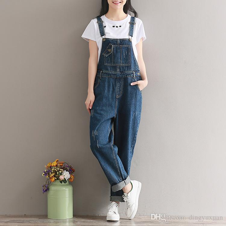 c5ad3499082b 2019 Women S Casual Harem Jumpsuits For Women 2018 Denim Jumpsuit Long Pants  Macacao Salopette Women Suspenders Trousers Jeans From Dingyuxuan
