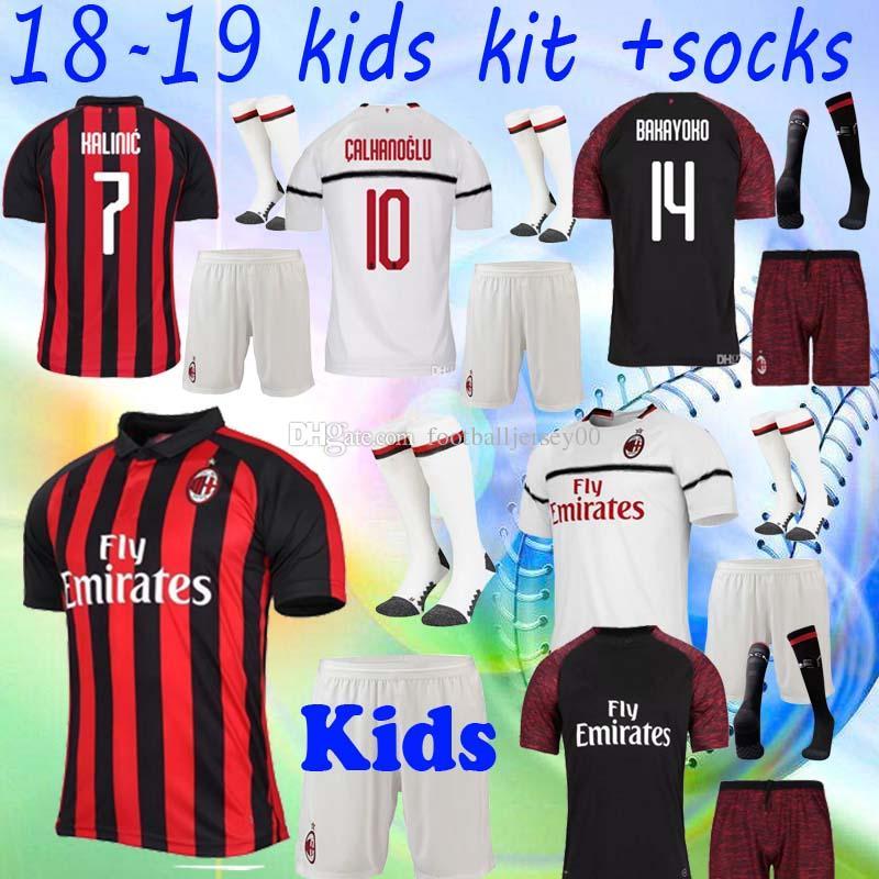 2019 Kids KIT 18 19 AC MILAN SOCCER JERSEY HIGUAIN MEN SET 2018 2019  CALHANOGLU SUSO BONAVENTURA Cutrone BIGLIA HOME AWAY THIRD FOOTBALL SHIRTS  From ... 242ec9259