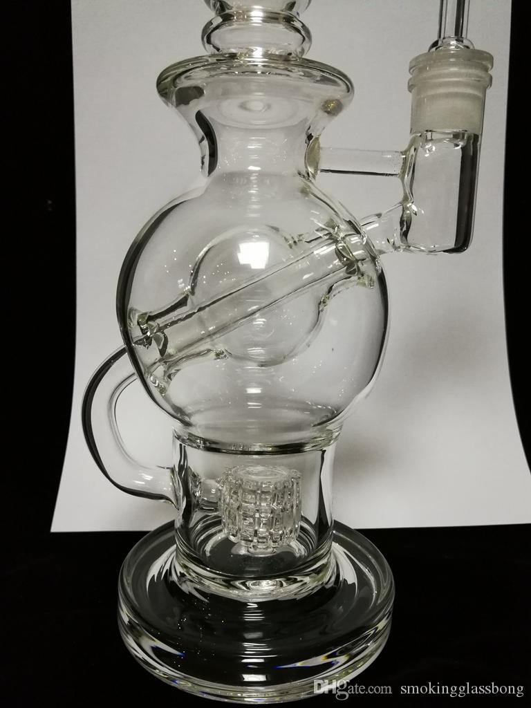 2018 ball rig glass bong fab eggo ball perc smoking Glass Water Pipes Vortex Recycler Oil Rigs Smoking Pipe 14 mm Glass Bowl