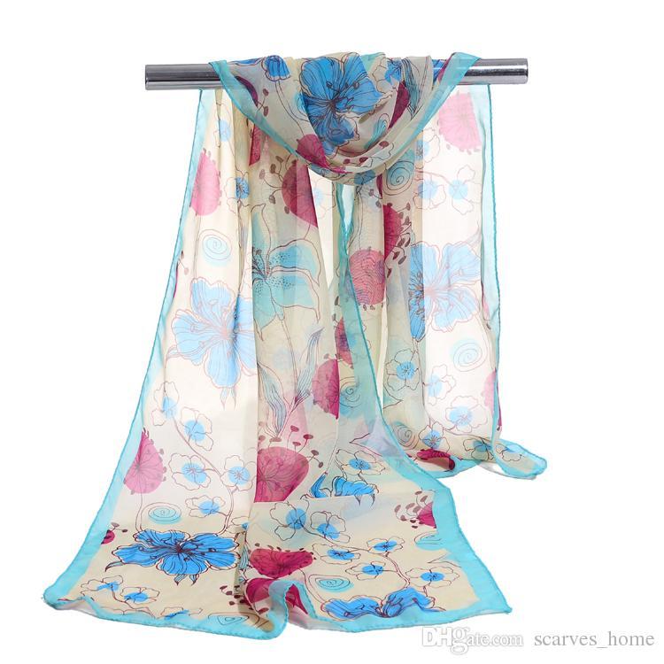 الحجاب أزياء زهرة طباعة الأوشحة أنثى شالات سوبر الحرير الشيفون الكورية الزخرفية النسيج أحزمة تكييف الهواء
